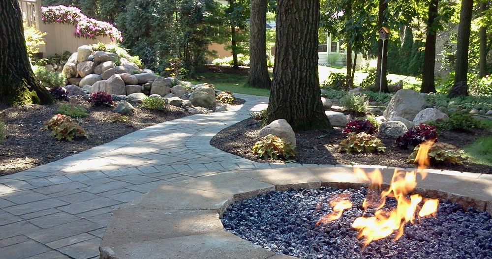 Walkway and Fireplace Hardscape